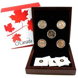 2013 Canada $25 Complete O Canada 5-Coin Fine Silver Set with Deluxe Display Case (Tax Exempt). Plea