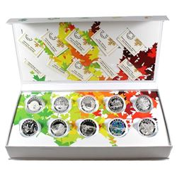 2014 Canada $10 Complete 12-coin O Canada Series Fine Silver Set with Collector Case (Tax Exempt). Y