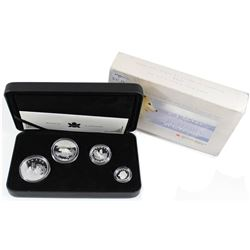 2004 Canada Fractional Arctic Fox Fine Silver 4-coin Set (Tax Exempt). Outer box contains wear.