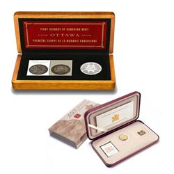 2001 & 2008 Canada Coin and Stamp sets. You will receive the 2001 Canada 3-Cent First Postage Stamp