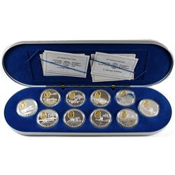 1990-1994 Canada Complete $20 Aviation One 10-coin set in Deluxe Issued Collector case. Outer box no