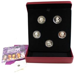 2008-2009 Canada $15 Vignettes of Royalty 5-Coin Sterling Silver Set. Please note one capsules is cr