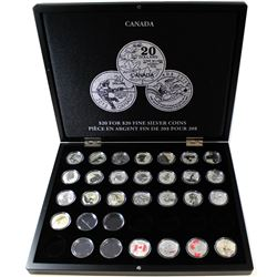 2011-2016 Canada $20 for $20 & $25 for $25 Fine Silver Coin Collection in deluxe collector case (Tax