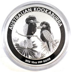 2013 Australia $10 Kookaburra 10oz. .999 Fine Silver Coin Encapsulated (Tax Exempt)