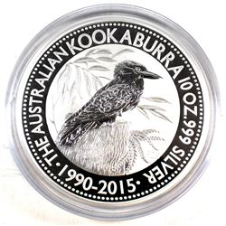 2015 Australia $10 Kookaburra 10oz. .999 Fine Silver Coin Encapsulated (Tax Exempt)
