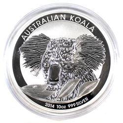 2014 Australia $10 Koala 10oz. .999 Fine Silver Coin Encapsulated (Tax Exempt)