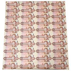 Uncut sheet of 1986 $2.00 Notes, 4 x 10 Format, EGT Prefix.