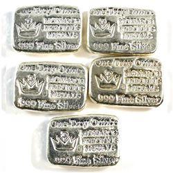 5x Hand Poured Monarch Precious Metals 1oz. .999 Fine Silver Bars (Tax Exempt). 5pcs.