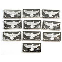 10x Eagle Monarch 5 gram .999 Silver Bars (Tax Exempt). 10pcs.