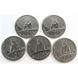 5x 2012 Canada $5 Cougar 1oz. Fine Silver Maples (Tax Exempt). 5pcs.
