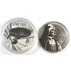 2016 Australia Star Trek & 2017 NZ. Darth Vadar $1 Fine Silver Coins (Tax Exempt). 2pcs.