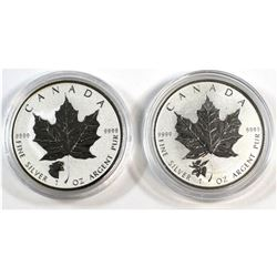 2017 Canada $5 Moose & Growling Cougar Privy 1oz Fine Silver Maples (Tax Exempt). 2pcs.
