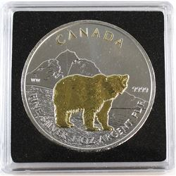 2011 Canada $5 Wildlife Series - Grizzly 1oz Silver with Selective Gold Plating (TAX Exempt)