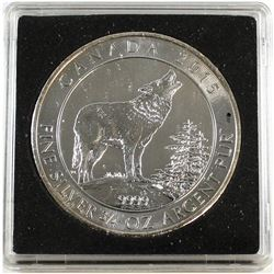 2015 $2 Canadian Grey Wolf 3/4oz. Fine Silver Coin (Tax Exempt). Light toning.