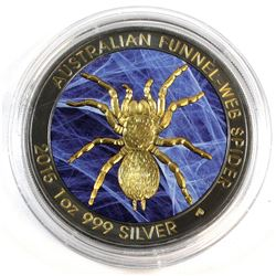 2015 Australia $1 Antiqued Funnel-Web Spider 1oz Fine Silver Colourized with Selective Gold Plating