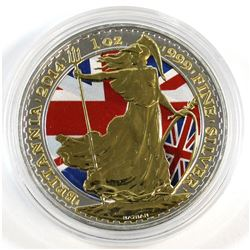2014 Great Britain 2-Pound Britannia 1oz Fine Silver Colourized with Selective Gold Plating (Tax Exe