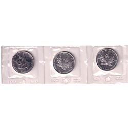 3x 1989 Canada $5 Maple Leaf 1oz Fine Silver Coin (Tax Exempt). Coins come sealed in the original RC