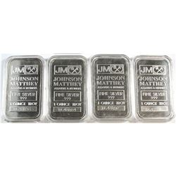 4x Johnson Matthey 1oz Fine Silver 'B Series' Bars in Capsules (Tax Exempt). 4pcs.