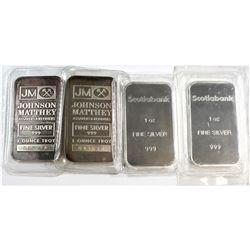 2x Johnson Matthey & 2x Scotia Bank 1oz Fine Silver Bars (Tax Exempt). 4pcs.
