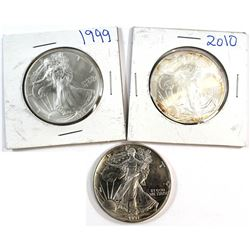1991, 1999, 2010 United States 1oz Fine Silver Eagles (Tax Exempt). Contain toning. 3pcs.