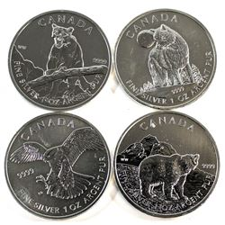 2011-2014 Canada $5 1oz Fine Silver Coins (Tax Exempt). You will receive a 2011 Wolf, 2011 Grizzly,