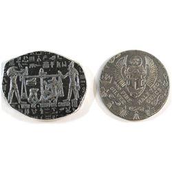 Monarch 1oz Fine Silver Egypt Relic Bar & Monarch 1/2oz Egypt Round (Tax Exempt). 2pcs.