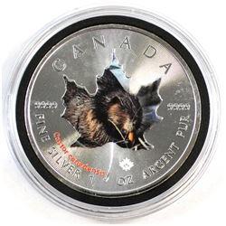 2015 Canada $5 Colourized 'Wildlife Beaver' 1oz Fine Silver Maple (Tax Exempt). Toned.
