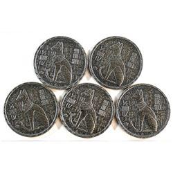 5x Monarch Egyptian Bastet Cat Goddess Ultra High Relief 1/2oz Fine Silver Rounds (Tax Exempt). 5pcs