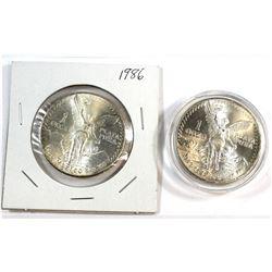 1983 & 1986 Mexico Libertad 1oz Fine Silver Coins (Tax Exempt). Toned.