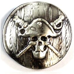 Beaver Bullion Pirate Skull and Crossed Swords 2oz Fine Silver Round (Tax Exempt).
