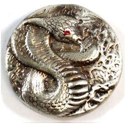 Beaver Bullion Cobra with Enamel Eye 3oz .Fine Silver Round (Tax Exempt).