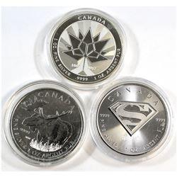 2012 Moose, 2016 Superman Shield, 2017 Canada 150th Canada $5 1oz Fine Silver Coins (Tax Exempt). Co