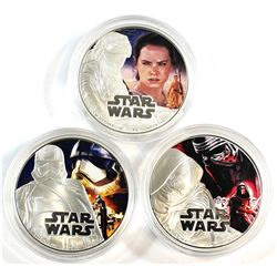 3x 2016 Niue $2 Colourized Star Wars 1oz Fine Silver Coins (Tax Exempt). You will receive Kylo Ren,