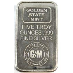 Golden State Mint 5oz Fine Silver Bar (Tax Exempt).