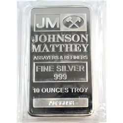 Johnson Matthey 10oz Fine Silver Bar Serial # 'A036098' (Tax Exempt).