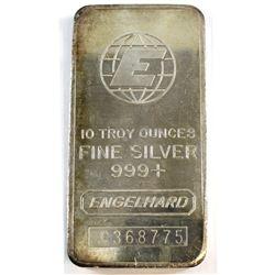 Vintage Engelhard 10oz Fine Silver Bar Serial # 'C368775' (Tax Exempt).
