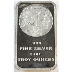 5oz Fine Silver Buffalo/Indian Head Bar (Tax Exempt).