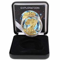 2015 USA 1oz .999 Fine Silver Eagle Coloured & Gold Plated Exploration Design in Smitty's Treasures