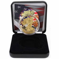 2018 USA 1oz .999 Fine Silver Eagle Coloured & Gold Plated Donald Trump and American Flag Design in