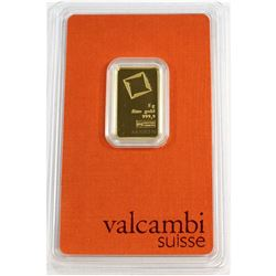 Valcambi Suisse 5 gram 999.9 Fine Gold Bar in original Packaging (Tax Exempt).