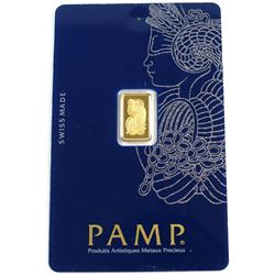 PAMP Suisse 1 gram 999.9 Fine Gold Bar in original Packaging (Tax Exempt).