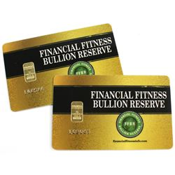 2x Financial Fitness 1 gram 999.9 Fine Gold Bars in Issued Cards (Tax Exempt). 2pcs.