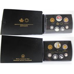2014 & 2015 Canada Fine Silver Double Dollar Proof Sets (outer sleeves lightly worn). 2pcs (TAX Exem