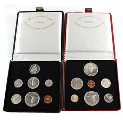 2x 1967 Canada Specimen Sets - Red Case with Sterling Silver Medallion & Black Case with 2017 50-cen