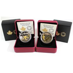 2017 & 2018 Canada $20 From Sea to Sea Gold Plated Fine Silver Coins - 2017 Atlantic Starfish & 2018