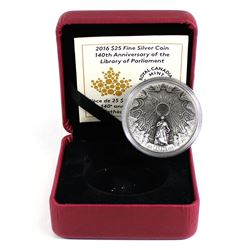 2016 Canada $25 The Library of Parliament Fine Silver Coin in Red RCM Display Box with COA (light re