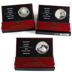 2005-2007 Canada $20 Tall Ships Series Fine Silver Coins - 2005 3-Masted Ship, 2006 Ketch & 2007 Bri