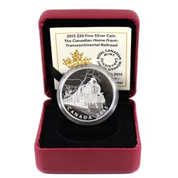 2015 $20 The Canadian Home Front - Transcontinental Railroad Fine Silver Coin in Red RCM Display Box