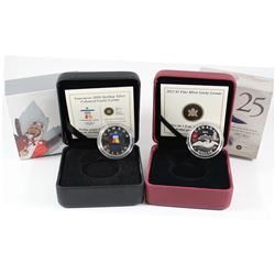 2010 Canada $1 Inukshuk Lucky Loonie Sterling Silver & 2012 $1 Lucky Loonie Fine Silver Coins (2010