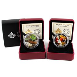 2015 Canada $20 Autumn Express & 2017 $20 Canoe to Tranquil Times Fine Silver Coins (2015 is missing